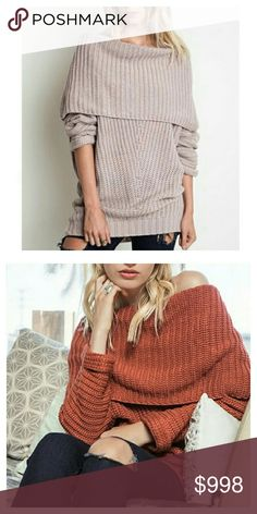 COMING SOON  Comfy Foldover Sweater, 2 Colors Seriously comfy oversized sweater with foldover shoulders, definite must for colder seasons!  ⚬Light Mauve  ⚬Rust ⚬Oversized slouchy sweater ⚬Large foldover shoulders ⚬Cotton blend ⚬Large ribbed style ⚬PLUS SIZES AVAILABLE  ***Please message me with size to be tagged upon arrival *** Boutique  Sweaters Cowl & Turtlenecks