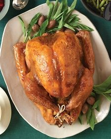 A practically instant sweet-and-spicy mixture of mustard and brown sugar flavors the bird and gives the skin an impressive golden-brown color.