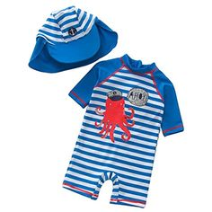 9a3490c73a Buy UNIQUEONE Kids Boys Navy Striped Cartoon Short Sleeve Rash Guard One Piece  Swimsuit Sun Protection Swimwear at beachaccessoriesstore