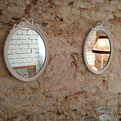 Spiegel weiß oval, mit Schleifchen Shabby Vintage Antik Kitzingen…