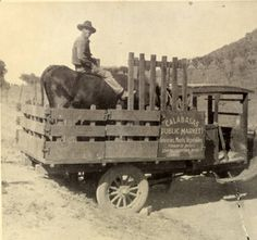 Calabasas public market truck, Manuel Correia visible on cow in truck bed. San Fernando Valley History Digital Library.