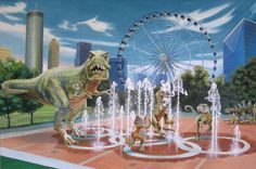 24″ x 36″ oil on canvas.  This is a picture of Centennial Olympic Park here in downtown Atlanta.    I have imagined a mother Tyrannosaurus minding her children as they play. Notice that the Stegosaurus and her babies have to wait their turn.