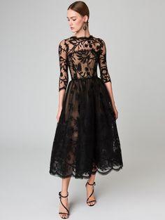 Illusion-Neck Lace Cocktail Dress