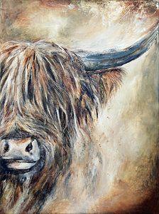 Highland Cow I van Atelier Paint-Ing op canvas, behang en meer Bird Painting Acrylic, Bull Painting, Pallet Painting, Highland Cow Painting, Highland Cow Art, Highland Cow Canvas, Cow Pictures, Pictures To Paint, Cow Drawing