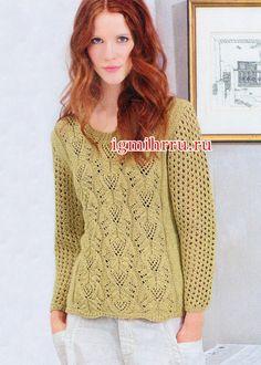 Ажурный пуловер цвета карри. Вязание спицами