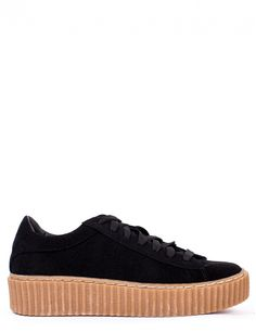 JUMP AROUND BLACK FAUX SUEDE CREEPERS
