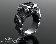 5 carat emerald diamond Baroque floral rose by DeMerJewelry