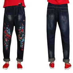 38.50$  Watch here - http://ali04k.shopchina.info/go.php?t=32802689899 - Aliexpress Monikubu women's fashion casual big plus size clothing denim embroidery pants trousers jeans for female ladies   #magazineonline
