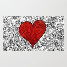 Red Red Heart with Zen style doodle for valentines Day gifts Rug love, heart, red, zen, ink, illustration, unique, trendy, girlfriend, boyfriend, wife, husband, lover, friendship, romance, cute, cool, organic, hand made, valentine day, special