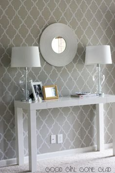 like the stencil way with table and lamps (thinking of using something like this beside the fireplace as a small writers desk)