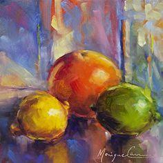 "Three Citrus Amigos by Monique Carr Oil ~ 6"" x 6"