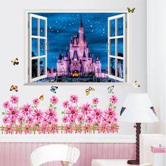 Barato 3D princesa castelo de adesivos de parede criança sala de decalques de decoração de casa, Compro Qualidade Papéis de parede diretamente de fornecedores da China:     Descrição   Descrição                                              Grande 3D filme maravilhoso temático adesivos de