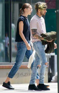 Gigi and Zayn leaving Gigi's apartment in New York