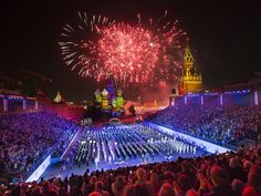 Fireworks explode over St. Basil Cathedral as International military bands perform during the closing ceremony of the Spasskaya Tower International Military Orchestra Music Festival on Sept. 7 at Red Square in Moscow.