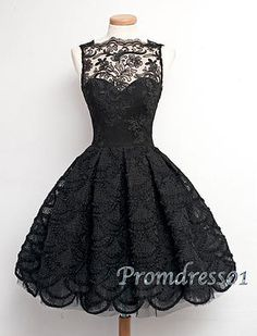 Vintage prom dresses short, black lace junior prom dress, handmade formal party dress for teens http://www.promdress01.com/#!product/prd1/4324105715/retro-black-lace-sleeveless-short-prom-dress