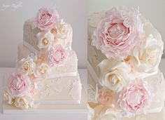 3-tier offset square wedding cake by with appliqué lace and cascading sugar flowers - sugarruffles