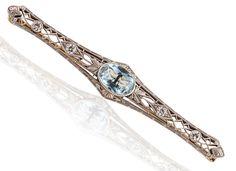 Aquamarine and diamond brooch in 18k white gold #estatejewelry #estatepin #estatebrooch