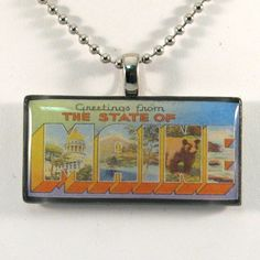 Vintage Large Letter Postcard Pendant Necklace  Maine by 12be, $14.50