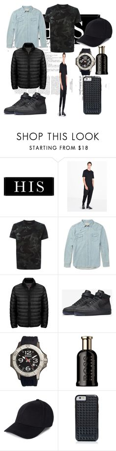 """""""Sporty man"""" by leeblkhoian ❤ liked on Polyvore featuring Universal Lighting and Decor, Y-3, Valentino, Maison Kitsuné, Tumi, NIKE, Breed, HUGO, Rebecca Minkoff and men's fashion"""