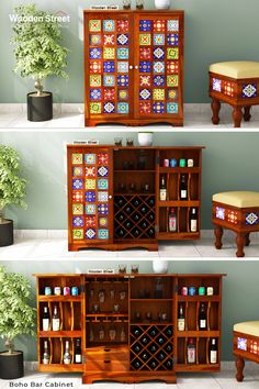 Create space full of vibrant and liveliness through Boho Bar Cabinet. Featuring vibrant colours, the bohemian artistic tiles create a striking contrast with the clean lines of the bar cabinet.  #woodenstreet #furniture #furniturebondedwithlove #MakeinIndia #barcabinets #bartrolleys #winedine #winestorage #winelover #barfurniture #DecorInspiration Home Bar Cabinet, Liquor Cabinet, Boho Bar, Bohemian, Wooden Street, Artistic Tile, Cabinets Online, Eclectic Living Room, Create Space