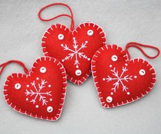 Handmade heart Christmas ornaments, Snowflake heart ornaments, Red and white Scandi ornaments.