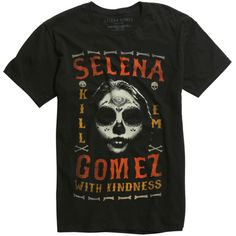 Hot Topic Selena Gomez Kill Em With Kindness T-Shirt ($17) ❤ liked on Polyvore featuring men's fashion, men's clothing, men's shirts, men's t-shirts, tops, shirts, mens skull shirts, mens skull t shirts, mens t shirts and mens faded denim shirt