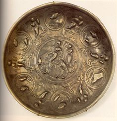 Блюдо серебряное - Богиня на пантере и звери в медальонах. 70-е гг. III в. Государственный Эрмитаж