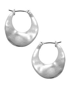 Kenneth Cole  Small Silver-Tone Hoop Earrings - Gray - One Size