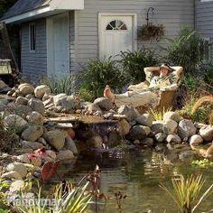 Construir un estanque del patio trasero y Cascada