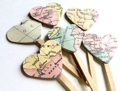 Map Cupcake Topper, Heart Map Cupcake Topper, Map Party Picks, Bridal Shower Cupcake Topper, Travel Theme Cupcake Topper, Map Paper Decor by