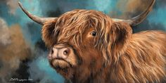 'Highland Heifer' is a large canvas wrap by Russian artist, Dina Perejogina for Artko. This picture is sure to catch people's eye and form a statement piece on any wall in your house. The item measures 120 x Highland Cow Painting, Highland Cow Art, Highland Cattle, Bull Painting, Barnyard Animals, Simple Acrylic Paintings, Artist Gallery, Art Studies, Animal Paintings
