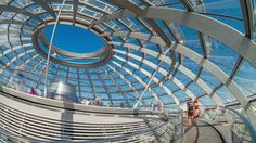 BERLIN - JULY 7, 2013: Tourists  move inside the Cupola of the Reichstag building on July 7, 2013 in Berlin, Germany. Timelapse view 4K.