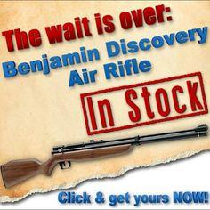 Finally in stock: Benjamin Discovery Air Rifle! http://www.pyramydair.com/s/m/Benjamin_Discovery_Air_Rifle/1543?utm_source=pinterest_medium=social_campaign=airg-finally-in-stock-benjamin-discovery