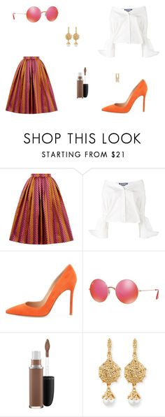 """Untitled #8297"" by mie-miemie ❤ liked on Polyvore featuring House of Holland, Jacquemus, Gianvito Rossi, Ray-Ban, MAC Cosmetics, Oscar de la Renta and Dolce&Gabbana"