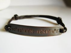 Copper Mens Bracelet Leather Bangle - Personalized Latitude Longitude Coordinates, Custom Handstamped Message - Men, Anniversary Gift. $30.00, via Etsy.