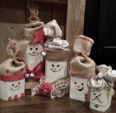Custom Christmas Wood Snowman Family Hand painted by LynnsMill