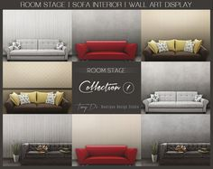 Room Stage Sofa Interior Wall Art Display Premade Backgrounds, Styled Images, White sofa Red sofa, Dark brown leather sofa Brown yellow sofa