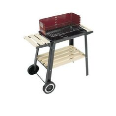 Bbq Charcoal Trolley Outdoor Barbecue Wooden Shelf cooking Furniture Garden