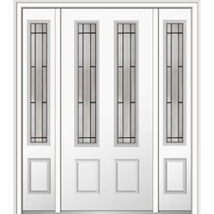 Milliken Millwork 64 in. x 80 in. Solstice Glass Right-Hand 2-3/4-Lite 2-Panel Classic Primed Steel Prehung Front Door with Sidelites
