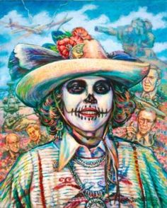 "David Botello is a native of East Los Angeles and Lincoln Heights. David painted murals with Wayne Healy. This piece is entitled ""Nature Wears her Death Mask"" and was painted in 2003. This piece is full over color and life but it also represents death. To me it means that eventually everything dies. I got my information from http://www.thechicanocollection.net/artists/db/"