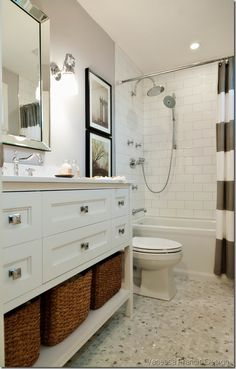 Awesome Long Narrow Bathroom Design Ideas: Fabulous Long Narrow Bathroom Design Ideas Rattan Baskets ~ softiv.com/ Bathroom Inspiration