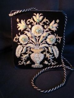 Vintage Handbag/Purse Zardozi Embroidery -Gold Work and Semi Precious from bellarosa on Ruby Lane