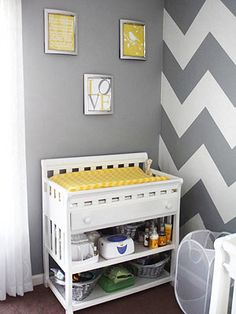 love the Chevron wall with yellow accents