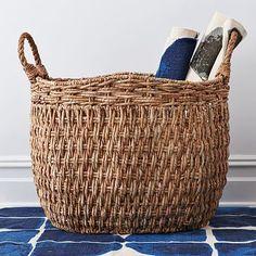 "Oversize Seagrass Basket #westelm 15.25""w x 14.5""d x 18""h."