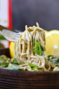 Vegan Lemon Sauce with Basil and Edamame Pasta via @thevegan8
