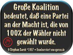 Große Koalition bedeutet, dass eine Partei an der Macht ist, die von 100% der Wähler nicht gewählt wurde.