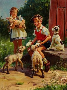 """""""Feeding the Lambs"""" by Henry Hintermeister"""