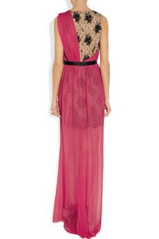 From behind.  Embellished lace and silk-chiffon gown by Jason Wu.
