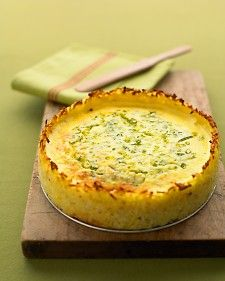 Goat Cheese Quiche with Hash-Brown Crust === Ingredients 2 tablespoons butter, softened, plus more for pan 1 package (1 pound) frozen hash brown potatoes, thawed 12 large eggs Coarse salt and ground pepper 1 1/2 cups reduced-fat sour cream 1 package (4 to 5 ounces) soft goat cheese, room temperature 4 scallions, thinly sliced Directions 1.Preheat oven to 375 degrees. Brush a 9-by-2 1/2-inch springform pan with butter. Line the sides of the pan with strips of waxed paper (the same height as…