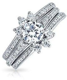 Bling Jewelry Round Pave Cz Engagement Wedding Ring Guard Set 925 Silver.